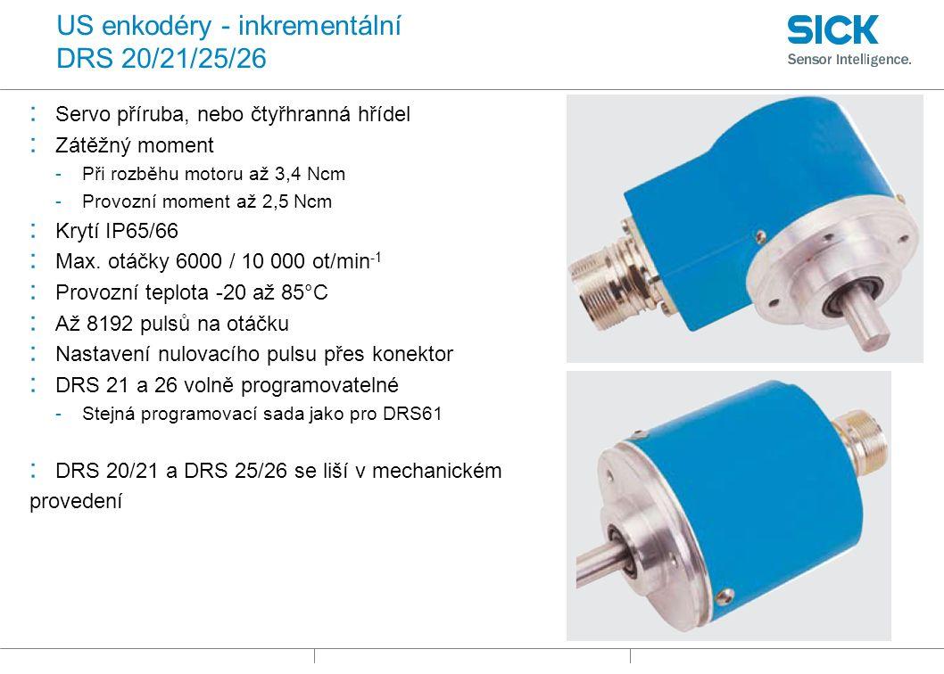 US enkodéry - inkrementální DRS 20/21/25/26 : Servo příruba, nebo čtyřhranná hřídel : Zátěžný moment -Při rozběhu motoru až 3,4 Ncm -Provozní moment až 2,5 Ncm : Krytí IP65/66 : Max.