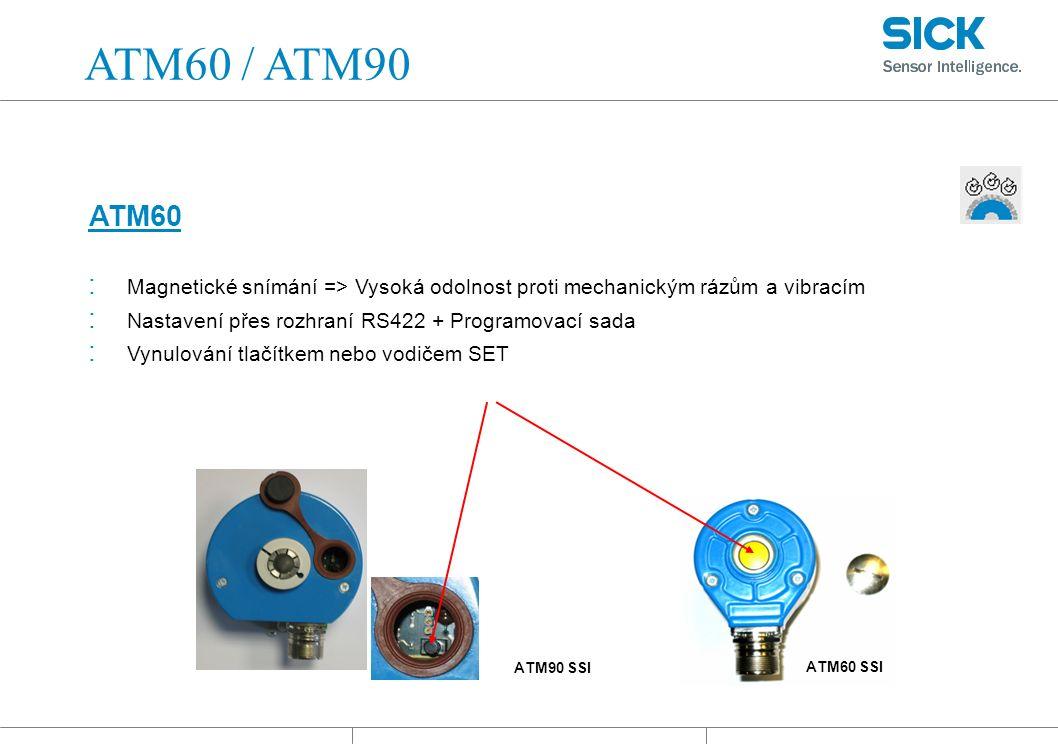: Magnetické snímání => Vysoká odolnost proti mechanickým rázům a vibracím : Nastavení přes rozhraní RS422 + Programovací sada : Vynulování tlačítkem nebo vodičem SET ATM60 ATM60 SSI ATM60 / ATM90 ATM90 SSI