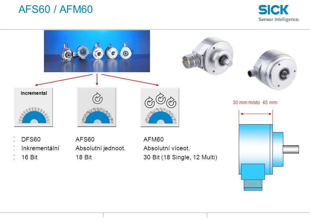 AFS60 / AFM60 30 mm místo 45 mm Incremental : DFS60 : Inkrementální : 16 Bit AFS60 Absolutní jednoot.