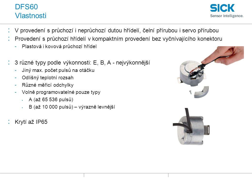DFS60 Vlastnosti : V provedení s průchozí i neprůchozí dutou hřídelí, čelní přírubou i servo přírubou : Provedení s průchozí hřídelí v kompaktním provedení bez vyčnívajícího konektoru -Plastová i kovová průchozí hřídel : 3 různé typy podle výkonnosti: E, B, A - nejvýkonnější -Jiný max.
