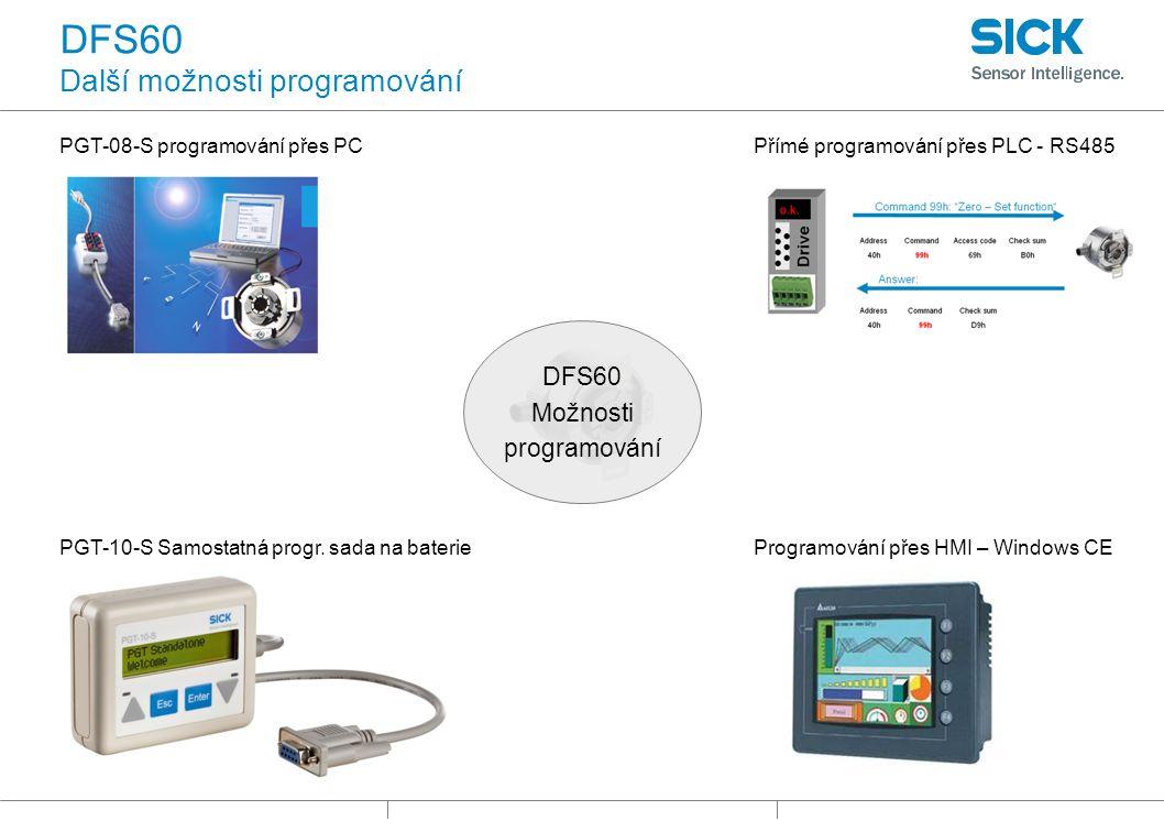 DFS60 Další možnosti programování PGT-08-S programování přes PCPřímé programování přes PLC - RS485 DFS60 Možnosti programování Programování přes HMI – Windows CEPGT-10-S Samostatná progr.