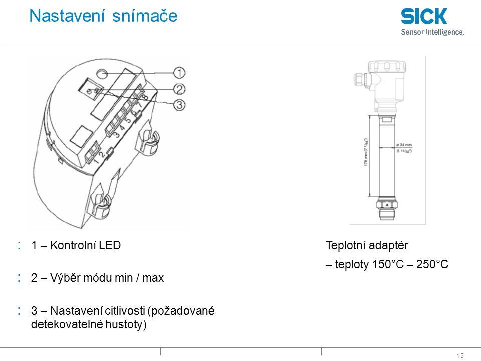 15 Nastavení snímače : 1 – Kontrolní LED : 2 – Výběr módu min / max : 3 – Nastavení citlivosti (požadované detekovatelné hustoty) Teplotní adaptér – t