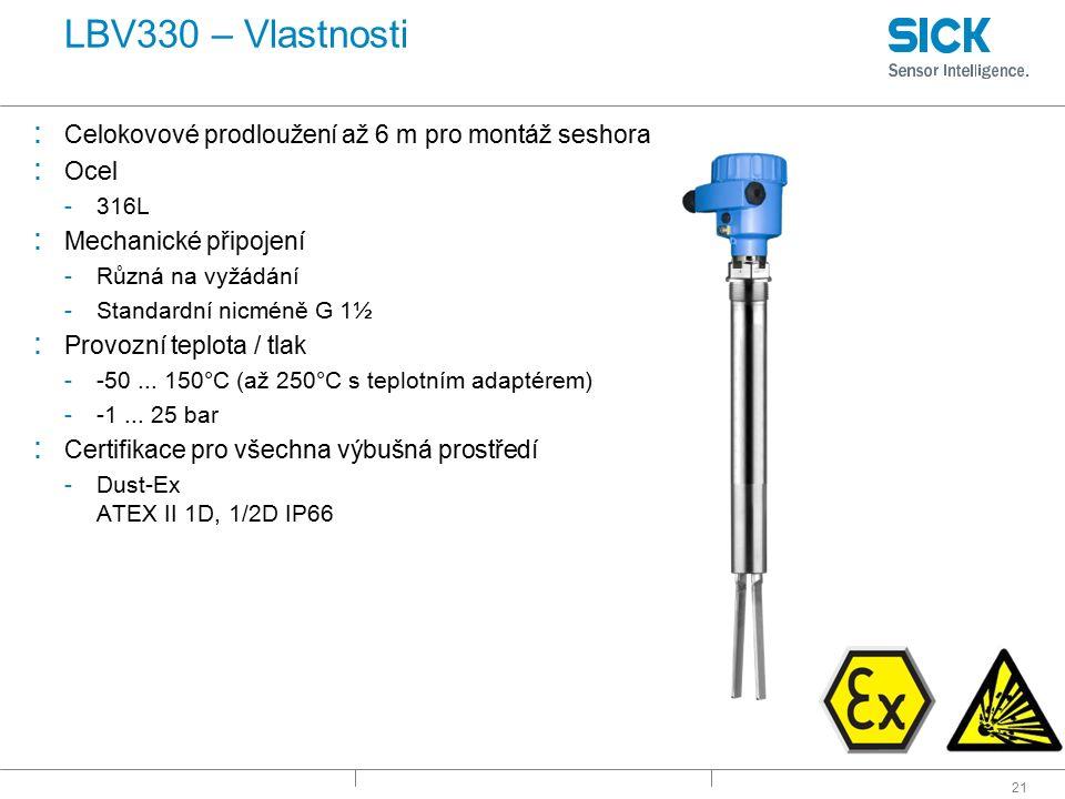 21 LBV330 – Vlastnosti : Celokovové prodloužení až 6 m pro montáž seshora : Ocel -316L : Mechanické připojení -Různá na vyžádání -Standardní nicméně G