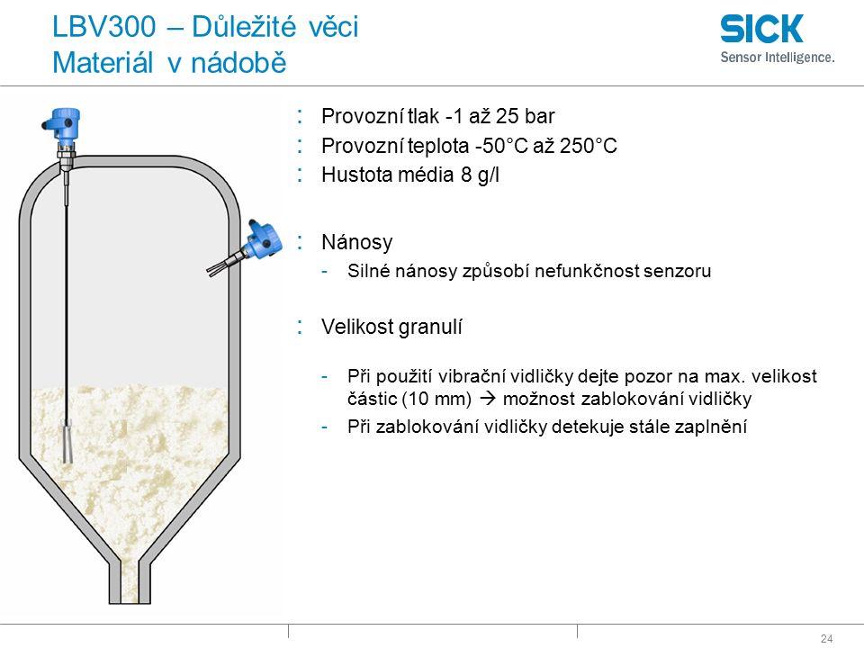 24 LBV300 – Důležité věci Materiál v nádobě : Provozní tlak -1 až 25 bar : Provozní teplota -50°C až 250°C : Hustota média 8 g/l : Nánosy -Silné nános