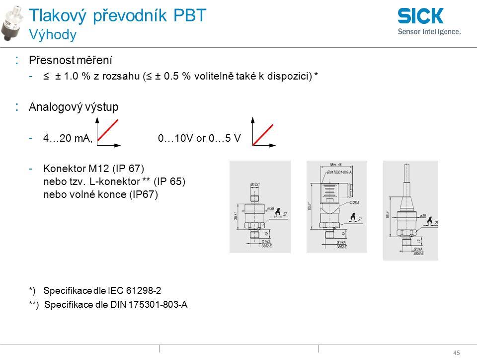 45 Tlakový převodník PBT Výhody : Přesnost měření -≤ ± 1.0 % z rozsahu (≤ ± 0.5 % volitelně také k dispozici) * : Analogový výstup -4…20 mA, 0…10V or
