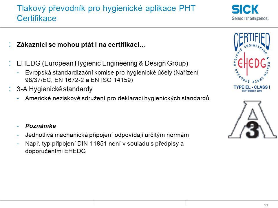 51 Tlakový převodník pro hygienické aplikace PHT Certifikace : Zákazníci se mohou ptát i na certifikaci… : EHEDG (European Hygienic Engineering & Desi