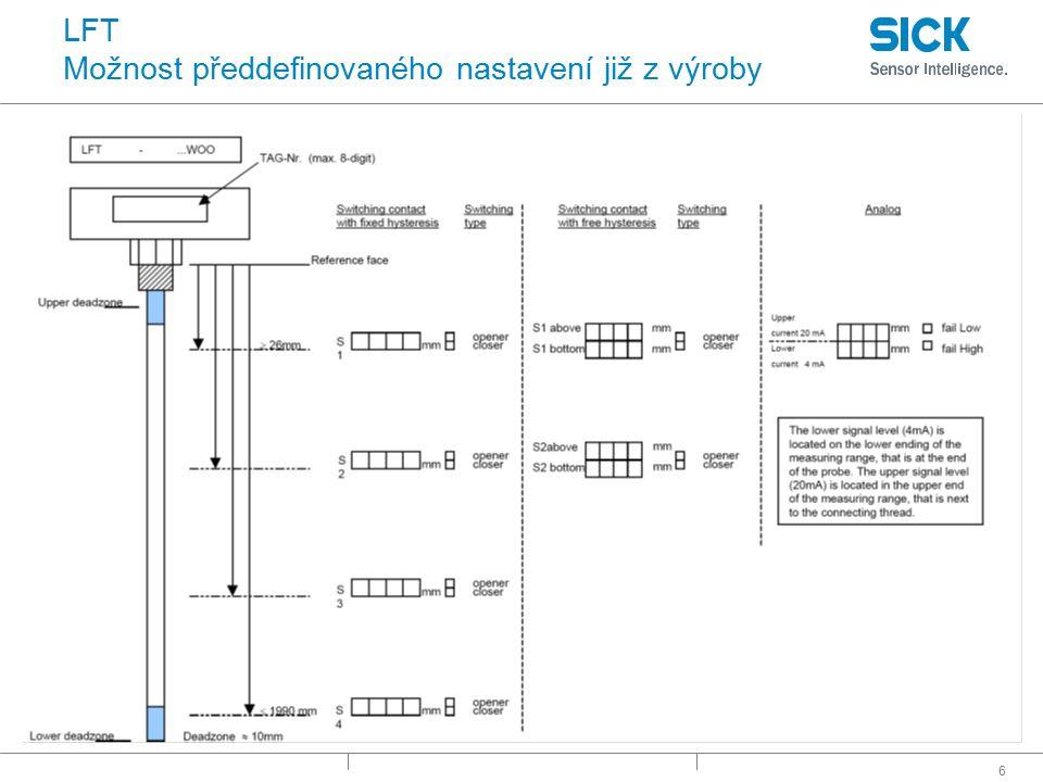 67 FFU Vlastnosti : Průběžný signál -Proudový výstup 4…20 mA -Proudový výstup 0…20 mA : Transistorový výstup -PNP/NPN volitelné -Pulsní výstup (počítání objemu, hodnota pulsu) -Monitorování kapaliny (je / není) -Výstup pro plničky -Alarm -Detekce prázdné trubky : Digitální vstup -Plnicí vstup ▪ Start plnicího procesu : Komunikace -SOPAS -I/O-Link  později : Velký displej -Indikace aktuální hodnoty proudění -Množství kapaliny -Sloupcový graf