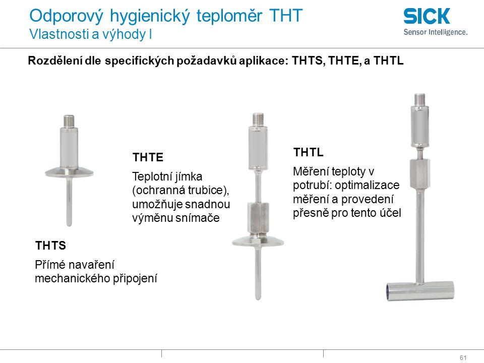 61 Odporový hygienický teploměr THT Vlastnosti a výhody I Rozdělení dle specifických požadavků aplikace: THTS, THTE, a THTL THTS Přímé navaření mechan