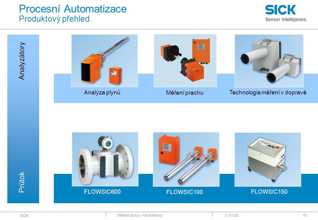 :Měření plynu – Nové trendy SICK : V 01.0010 Procesní Automatizace Produktový přehled Analyzátory Průtok FLOWSIC600 FLOWSIC100 FLOWSIC150 Analýza plyn