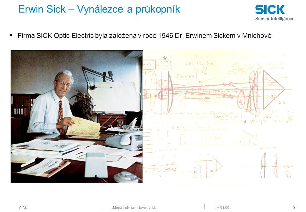 :Měření plynu – Nové trendy SICK : V 01.003 Erwin Sick – Vynálezce a průkopník Firma SICK Optic Electric byla založena v roce 1946 Dr. Erwinem Sickem