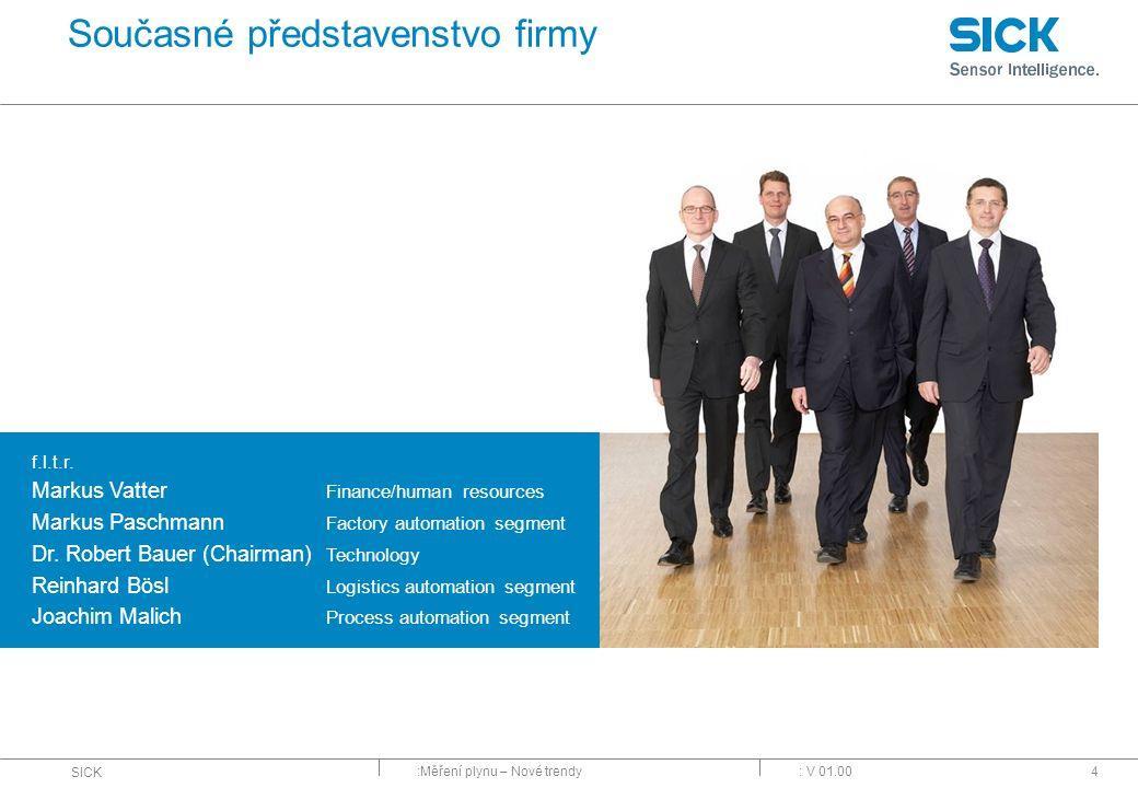 :Měření plynu – Nové trendy SICK : V 01.004 f.l.t.r. Markus Vatter Finance/human resources Markus Paschmann Factory automation segment Dr. Robert Baue