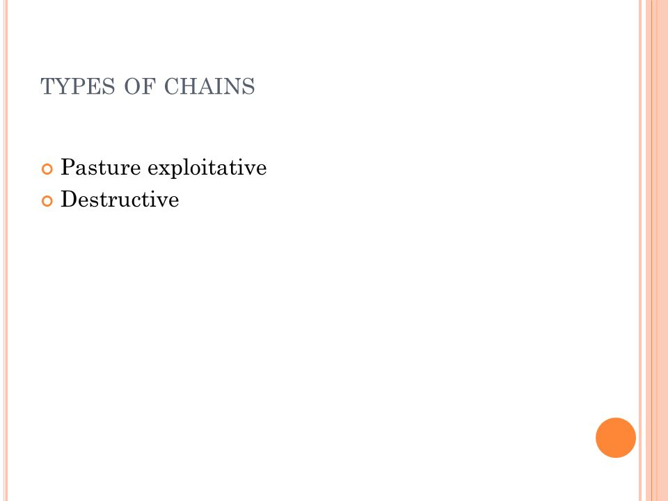 TYPES OF CHAINS Pasture exploitative Destructive