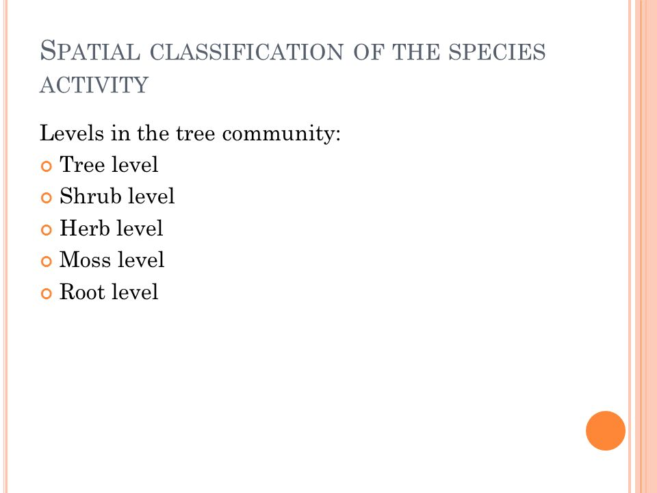 S PATIAL CLASSIFICATION OF THE SPECIES ACTIVITY Levels in the tree community: Tree level Shrub level Herb level Moss level Root level