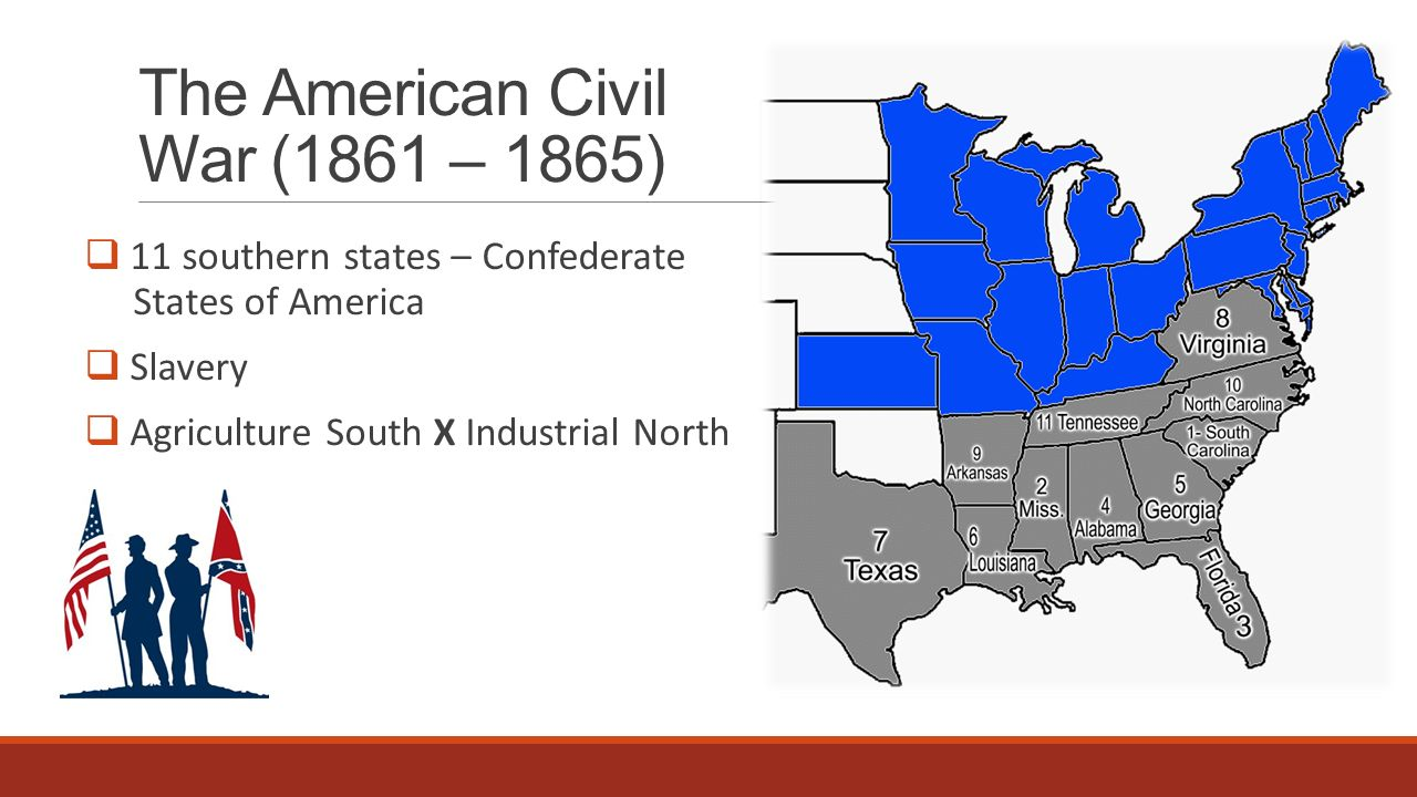 The American Civil War (1861 – 1865)  Confederation X Unie  Great Britain, France X Canada, Russia Jefferson Davis, general Robert Lee X President Abraham Lincoln, general U.