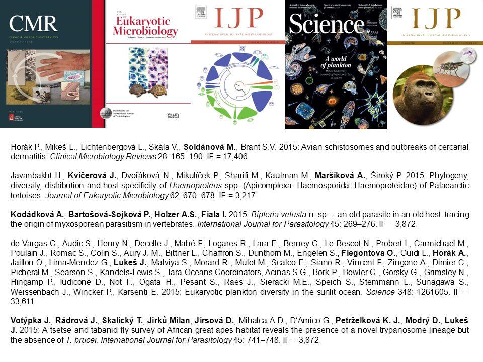 Horák P., Mikeš L., Lichtenbergová L., Skála V., Soldánová M., Brant S.V. 2015: Avian schistosomes and outbreaks of cercarial dermatitis. Clinical Mic
