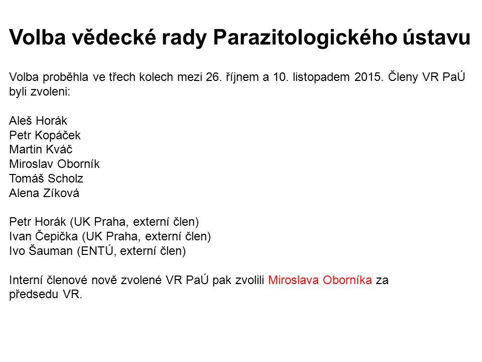 Volba vědecké rady Parazitologického ústavu Volba proběhla ve třech kolech mezi 26. říjnem a 10. listopadem 2015. Členy VR PaÚ byli zvoleni: Aleš Horá