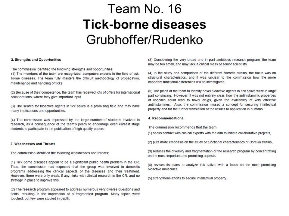 Team No. 16 Tick-borne diseases Grubhoffer/Rudenko