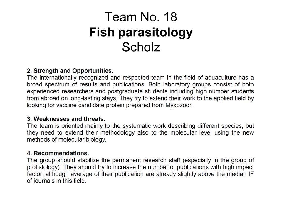 Team No. 18 Fish parasitology Scholz