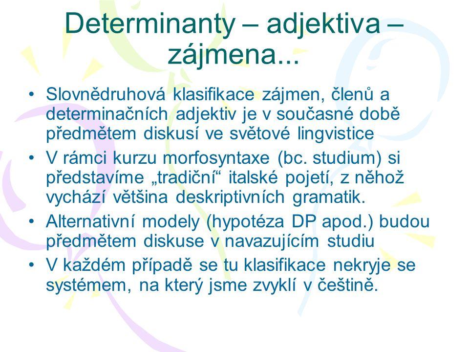 Determinanty – adjektiva – zájmena... Slovnědruhová klasifikace zájmen, členů a determinačních adjektiv je v současné době předmětem diskusí ve světov
