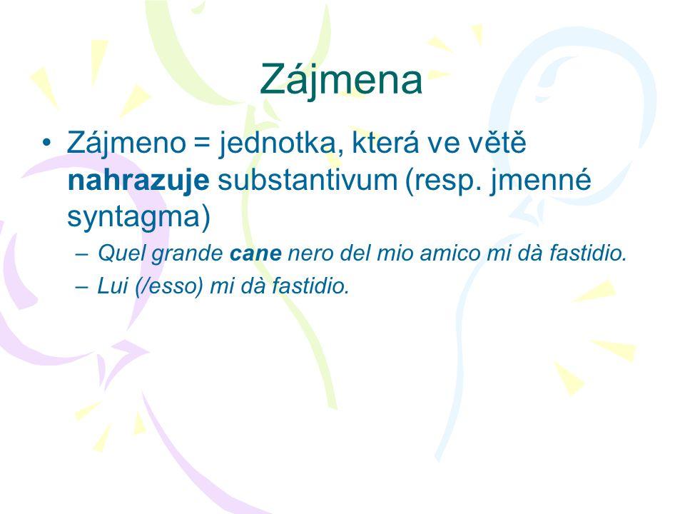 Zájmena Zájmeno = jednotka, která ve větě nahrazuje substantivum (resp. jmenné syntagma) –Quel grande cane nero del mio amico mi dà fastidio. –Lui (/e