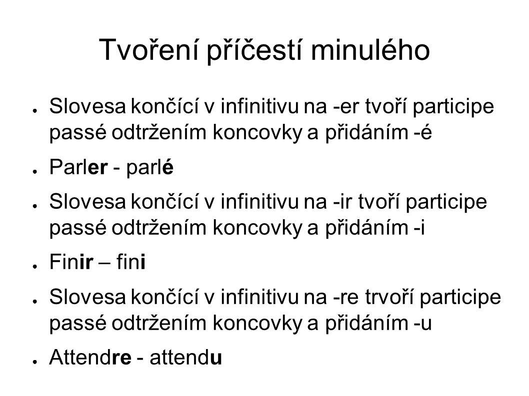 Tvoření příčestí minulého Slovesa končící v infinitivu na -er tvoří participe passé odtržením koncovky a přidáním -é Parler - parlé Slovesa končící v