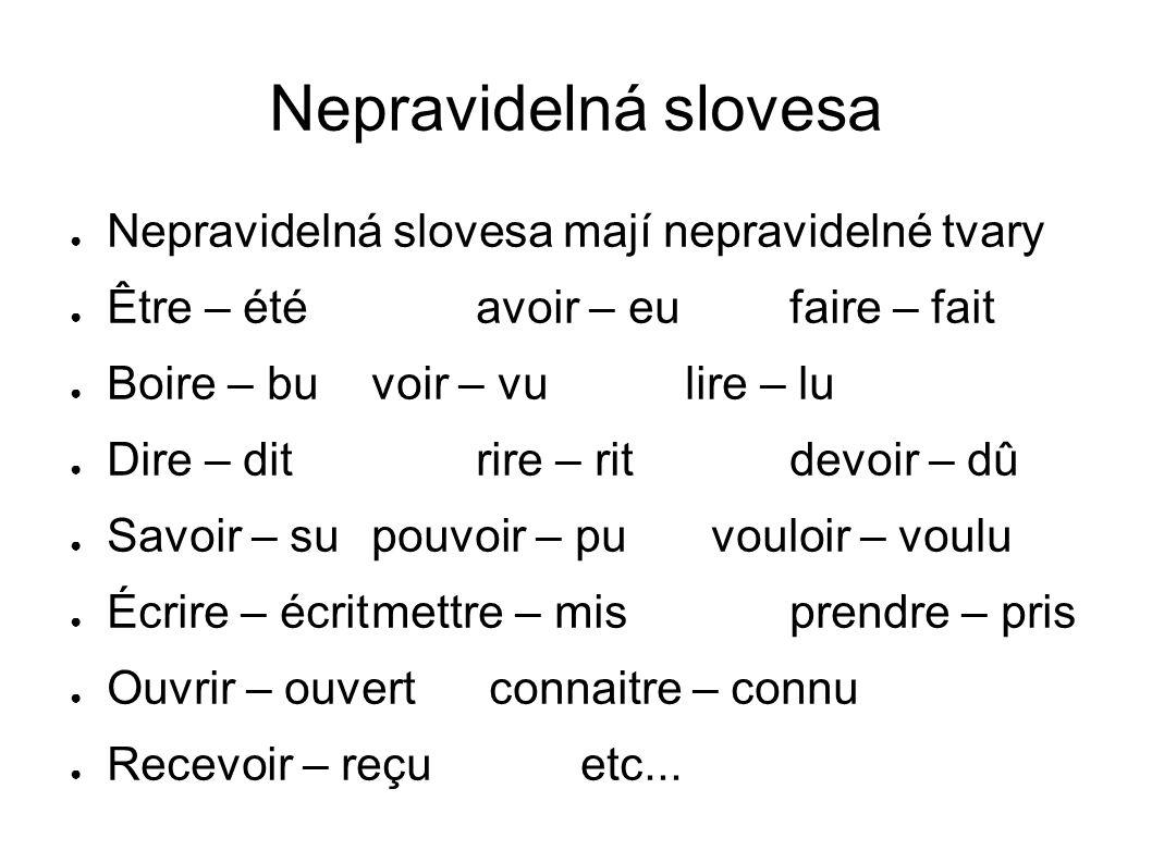 Nepravidelná slovesa Nepravidelná slovesa mají nepravidelné tvary Être – étéavoir – eufaire – fait Boire – buvoir – vulire – lu Dire – ditrire – ritde