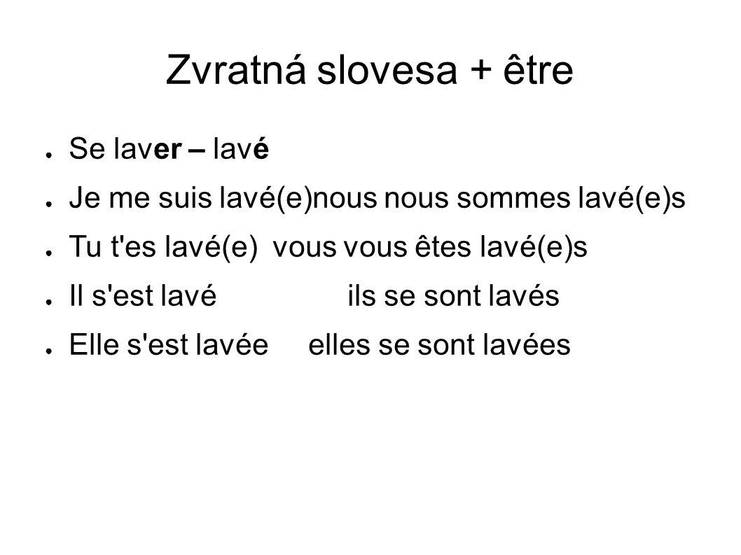 Zvratná slovesa + être Se laver – lavé Je me suis lavé(e)nous nous sommes lavé(e)s Tu t'es lavé(e) vous vous êtes lavé(e)s Il s'est lavé ils se sont l