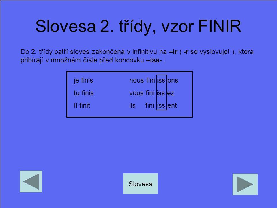 Slovesa 2. třídy, vzor FINIR Do 2. třídy patří sloves zakončená v infinitivu na –ir ( -r se vyslovuje! ), která přibírají v množném čísle před koncovk