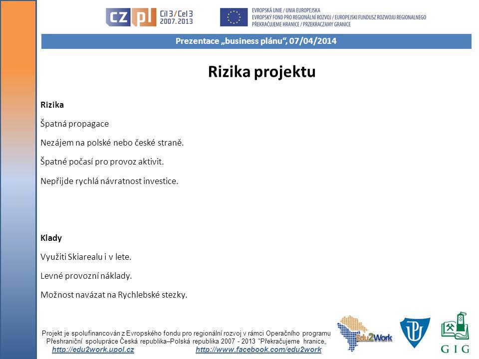 Rizika projektu Rizika Špatná propagace Nezájem na polské nebo české straně. Špatné počasí pro provoz aktivit. Nepřijde rychlá návratnost investice. K