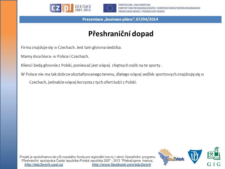 Přeshraniční dopad Firma znajduje się w Czechach. Jest tam głowna siedziba. Mamy dwa biura- w Polsce i Czechach. Klienci bedą głownie z Polski, poniew