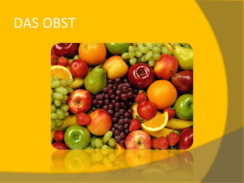 Pojmenujte ovoce popořadě dle obrázků, kontrola slovíček na kliknutí. DAS OBST