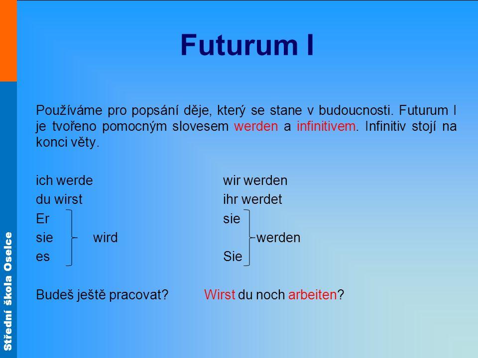 Střední škola Oselce Futurum I Používáme pro popsání děje, který se stane v budoucnosti.