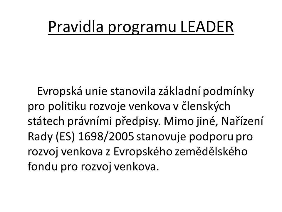 Pravidla programu LEADER Evropská unie stanovila základní podmínky pro politiku rozvoje venkova v členských státech právními předpisy. Mimo jiné, Naří