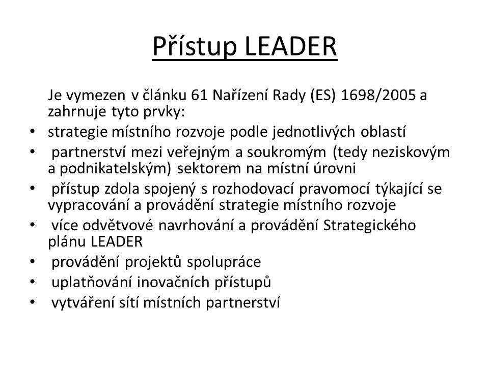 Přístup LEADER Je vymezen v článku 61 Nařízení Rady (ES) 1698/2005 a zahrnuje tyto prvky: strategie místního rozvoje podle jednotlivých oblastí partne