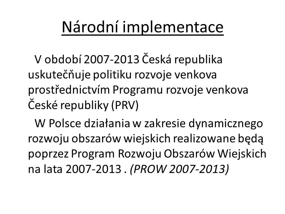 Národní implementace V období 2007-2013 Česká republika uskutečňuje politiku rozvoje venkova prostřednictvím Programu rozvoje venkova České republiky