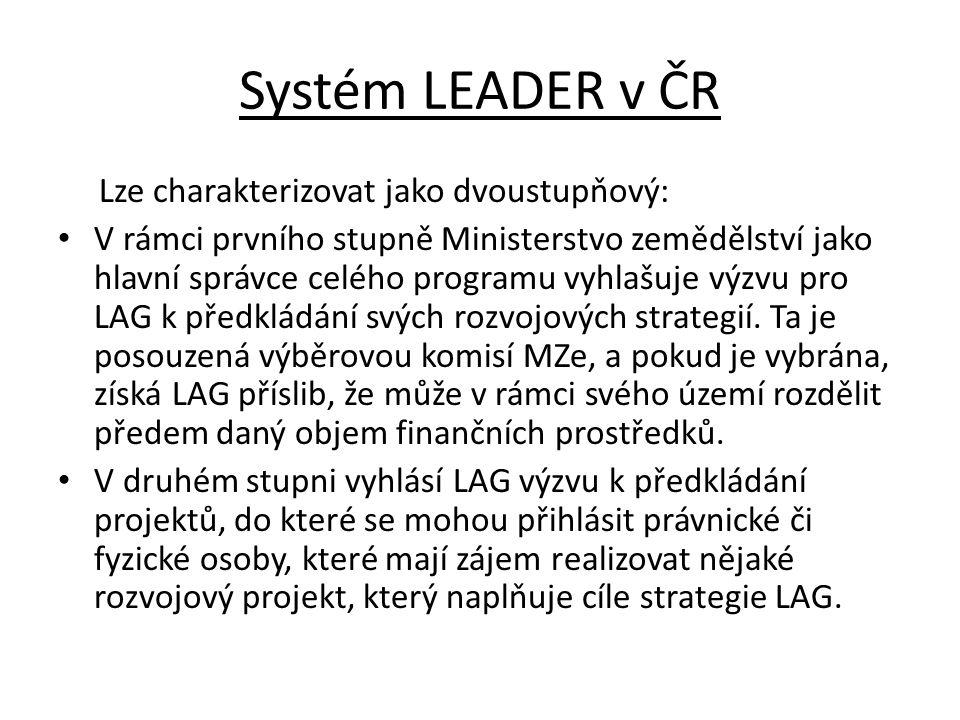 Systém LEADER v ČR Lze charakterizovat jako dvoustupňový: V rámci prvního stupně Ministerstvo zemědělství jako hlavní správce celého programu vyhlašuj