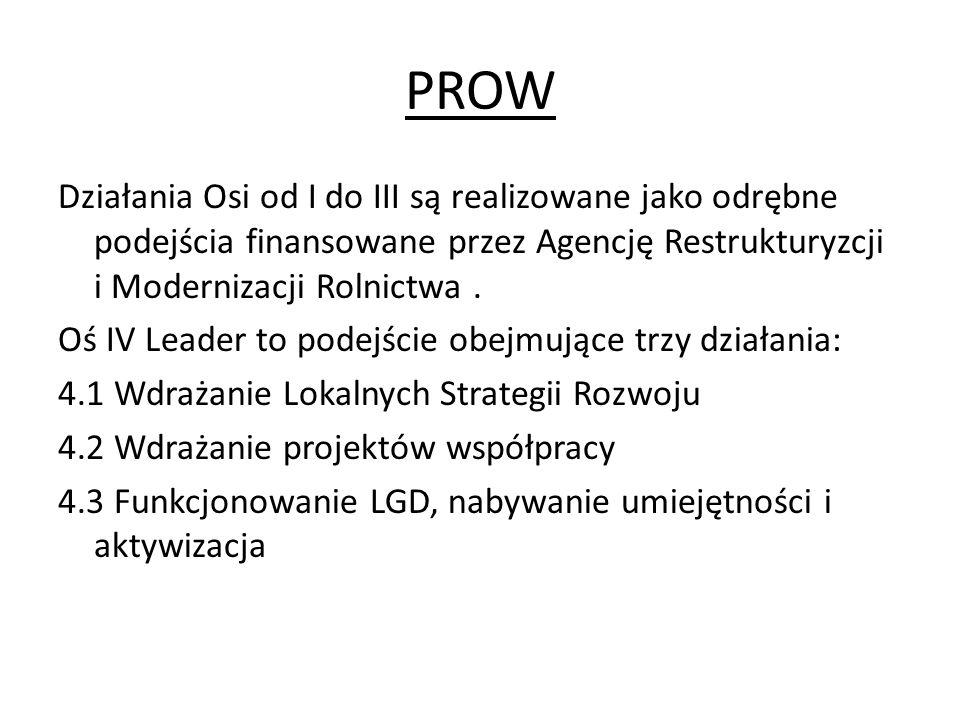 PROW Działania Osi od I do III są realizowane jako odrębne podejścia finansowane przez Agencję Restrukturyzcji i Modernizacji Rolnictwa. Oś IV Leader