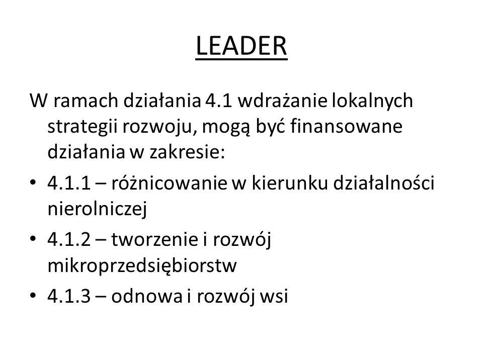 LEADER W ramach działania 4.1 wdrażanie lokalnych strategii rozwoju, mogą być finansowane działania w zakresie: 4.1.1 – różnicowanie w kierunku działa