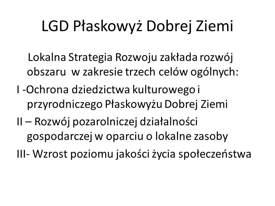 LGD Płaskowyż Dobrej Ziemi Lokalna Strategia Rozwoju zakłada rozwój obszaru w zakresie trzech celów ogólnych: I -Ochrona dziedzictwa kulturowego i prz