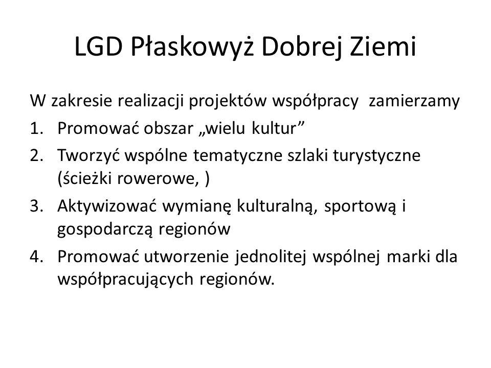 LGD Płaskowyż Dobrej Ziemi W zakresie realizacji projektów współpracy zamierzamy 1.Promować obszar wielu kultur 2.Tworzyć wspólne tematyczne szlaki tu