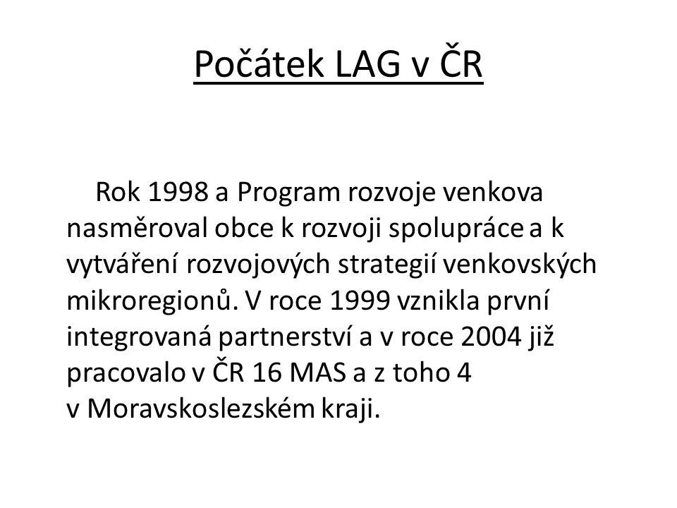 Počátek LAG v ČR Rok 1998 a Program rozvoje venkova nasměroval obce k rozvoji spolupráce a k vytváření rozvojových strategií venkovských mikroregionů.