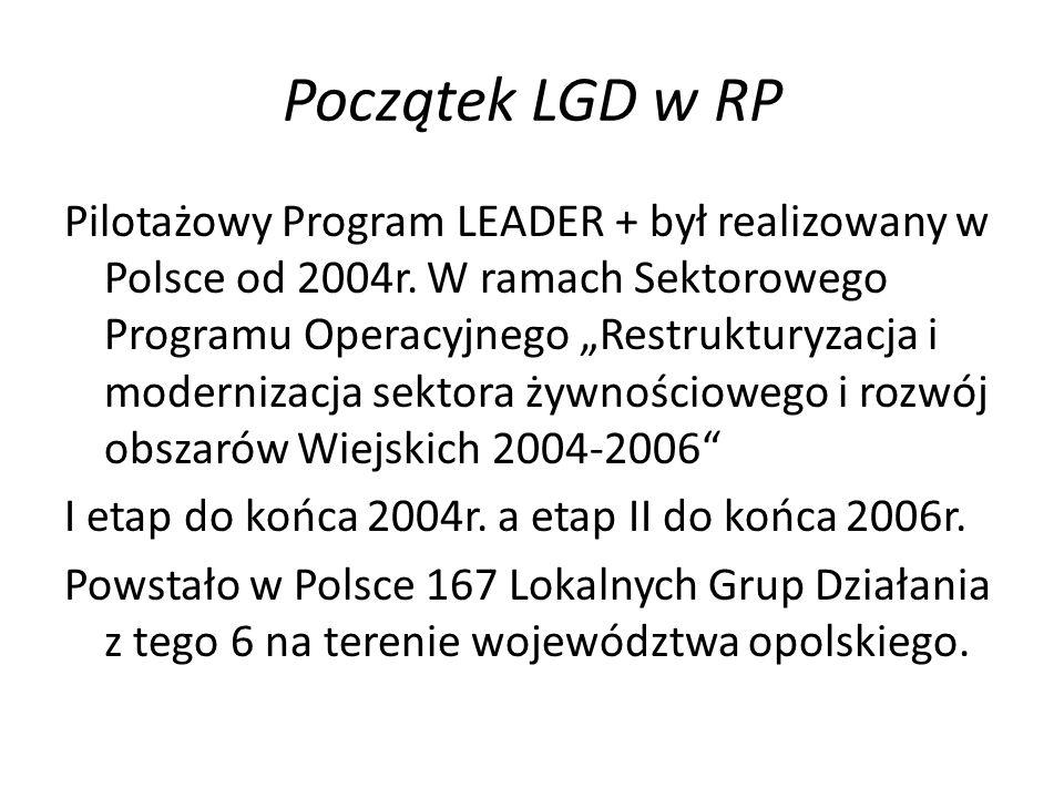 Początek LGD w RP Pilotażowy Program LEADER + był realizowany w Polsce od 2004r. W ramach Sektorowego Programu Operacyjnego Restrukturyzacja i moderni
