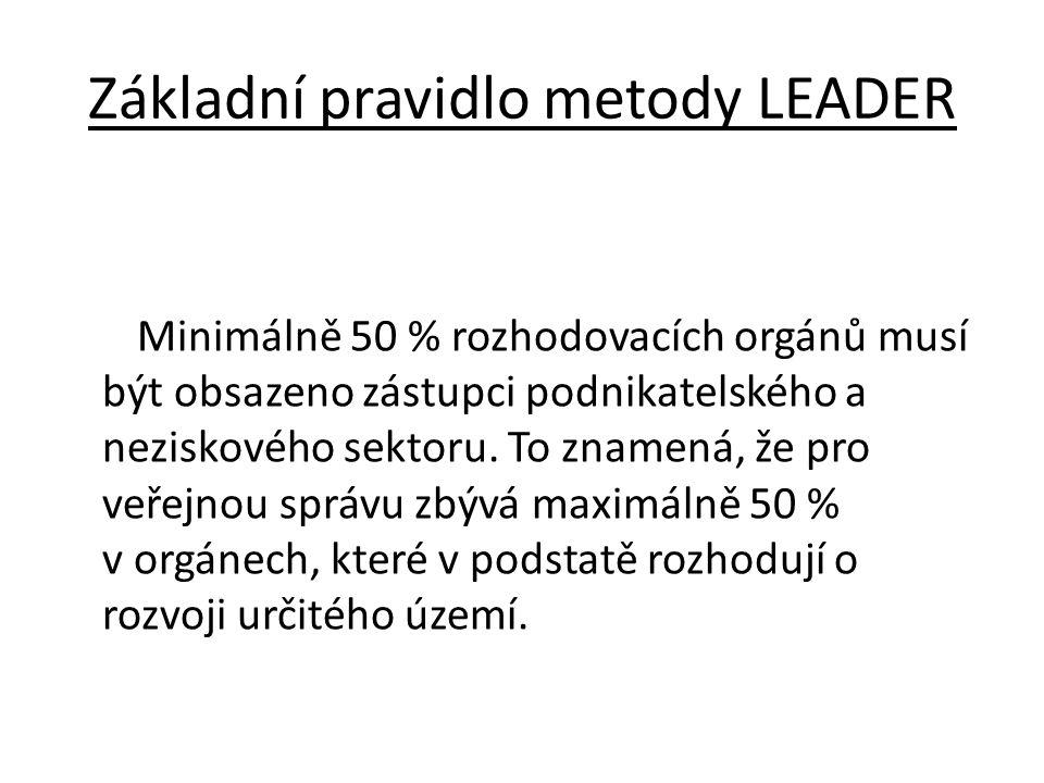Základní pravidlo metody LEADER Minimálně 50 % rozhodovacích orgánů musí být obsazeno zástupci podnikatelského a neziskového sektoru. To znamená, že p