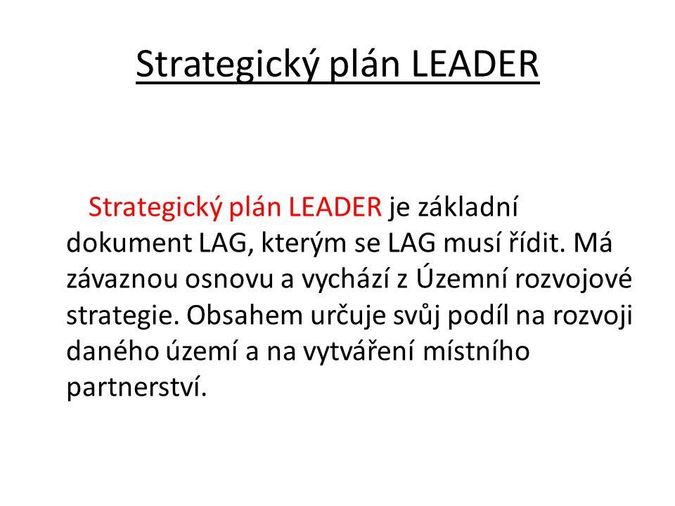 Strategický plán LEADER Strategický plán LEADER je základní dokument LAG, kterým se LAG musí řídit. Má závaznou osnovu a vychází z Územní rozvojové st