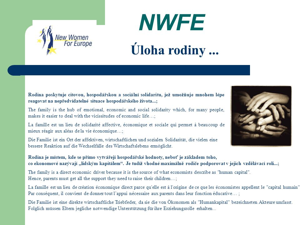 NWFE Rodina poskytuje citovou, hospodářskou a sociální solidaritu, jež umožňuje mnohem lépe reagovat na nepředvídatelné situace hospodářského života...; The family is the hub of emotional, economic and social solidarity which, for many people, makes it easier to deal with the vicissitudes of economic life…; La famille est un lieu de solidarité affective, économique et sociale qui permet à beaucoup de mieux réagir aux aléas de la vie économique…; Die Familie ist ein Ort der affektiven, wirtschaftlichen und sozialen Solidarität, die vielen eine bessere Reaktion auf die Wechselfälle des Wirtschaftslebens ermöglicht.