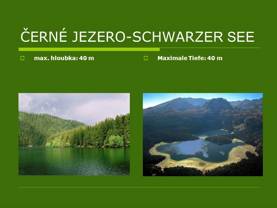 ČERNÉ JEZERO-SCHWARZ ER SEE max. hloubka: 40 m Maximale Tiefe: 40 m