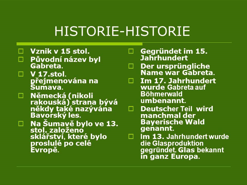 HISTORIE-HISTORIE Vznik v 15 stol. Původní název byl Gabreta. V 17.stol. přejmenována na Šumava. Německá (nikoli rakouská) strana bývá někdy také nazý