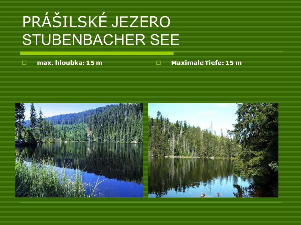 PRÁŠILSKÉ JE ZERO STUBENBACHER SEE max. hloubka: 15 m Maximale Tiefe: 15 m