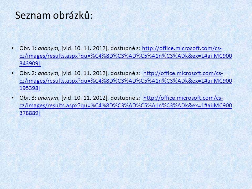 Seznam obrázků: Obr. 1: anonym, [vid. 10. 11. 2012], dostupné z: http://office.microsoft.com/cs- cz/images/results.aspx?qu=%C4%8D%C3%AD%C5%A1n%C3%ADk&