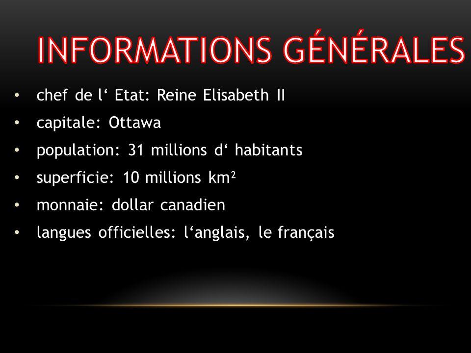 chef de l Etat: Reine Elisabeth II capitale: Ottawa population: 31 millions d habitants superficie: 10 millions km² monnaie: dollar canadien langues o